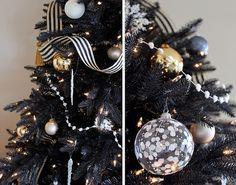 holiday, xmas trees, black christmas, christmas decorations, ribbon, christma tree, black gold, glass ornaments, christmas trees