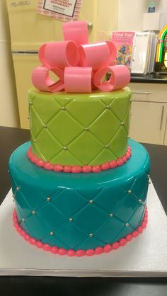 Quilted Lime, Pink, and Turquoise cake
