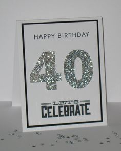 40th Birthday Card - Any Age - Milestone Birthday -  Custom - Personalized - Rhinestones - Glitter Greeting Card on Etsy, $4.50