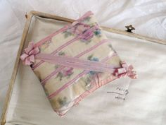 Watered Silk Petite Sachet Pincushion with Ribbon Work
