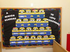 Preschool bulletin board :) each minion says what the kids love about preschool