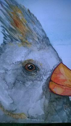 Female Cardinal on aqua board by ArtbyKTrudeau on Etsy, $200.00