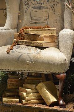 grain sack covered chair