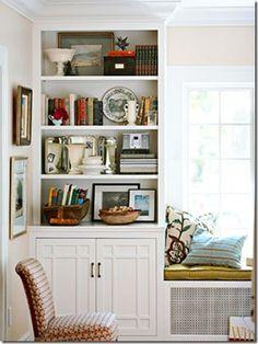arranging bookshelves