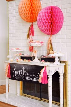 So many good ideas...love the chalkboard sign and the honeycomb balls with the tassels! Now to find a reason to party!