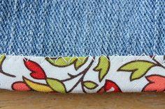 Folded bias tape sewn to shorts with zig zag stitch