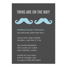 custom mustache twins boys baby shower invitations