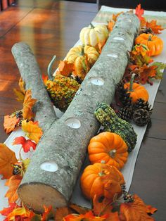 How to make this gorgeous log centerpiece
