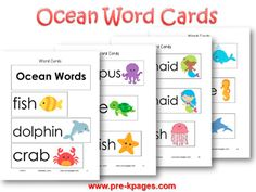 Printable Ocean Word Cards for Pocket Chart or Word Wall
