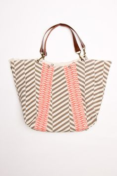 Slouchy Ikat Tote in Grey/Coral