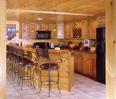 log home kitchen/bar for the basement