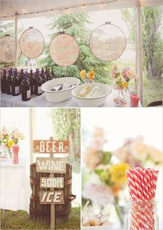 rustic drink table. love the sign! #rustic #wedding #outdoor #summer #country #barnwedding