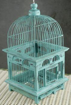 """#Tiffany Blue Wedding ... Tiffany Blue Handcrafted Teak Bird Cage (16-1/2"""") for wedding cards  www.egovolo.com"""