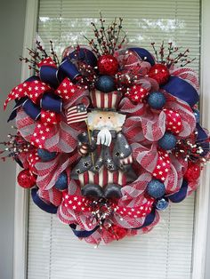 Patriotic, Red White Blue, Deco Mesh 4th of July Uncle Sam Wreath, Americana  Wreath