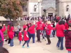 Group flash mobs outside courthouse