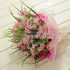 Organza Wrapped Sweet Little Pink Flower Wedding Bouquet