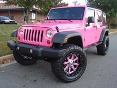 I don't know where to pin this at, I don't have an I NEED!!! board!    Pink Cars: Pink Jeep Wrangler - Awesome Girly Cars & Girly Stuff!