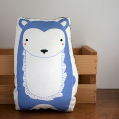 Plush Bear Pillow in Periwinkle Blue MADE TO ORDER. $20.00