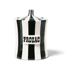 Black and white prozac canister from Jonathan Adler