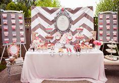 Chevron baby shower! desserts, dessert tables, shower ideas, wedding showers, brunch, chevron, backdrop, parti, bridal showers