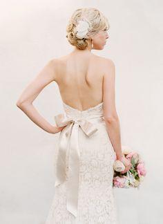 lace + bow wedding gown | Adam Barnes #wedding
