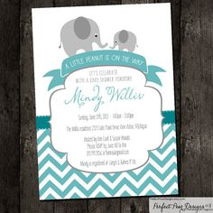 "Baby Shower Invitation boy, twins, neutral ""Little Peanut on the way"" Chevron - baby elephant, blue, turquoise, grey - DIY Digital Printable"