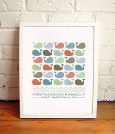 personalized whale print