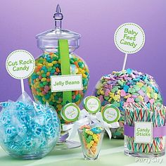 Create the sweetest baby shower candy buffet with signs and tags from the candy buffet decoration kit.