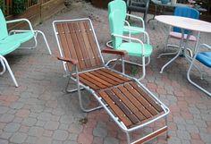 Vintage Retro Redwood Slat Folding Aluminum Lawn Lounge Chair Beach Patio Chaise | eBay