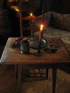 small tables, dinner for one, rustic table, primitive christmas, log cabins, primit decor, candl, table for two, light
