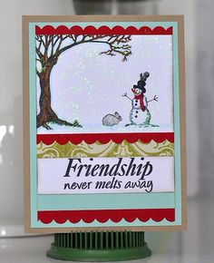 """Adore this """"snow cute"""" and happy card from Charlene Austin. She's got an extra Friendship Never Melts stamp set (like the one she used to make her card). Be sure to comment on her blog post for a chance to win it."""