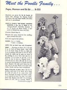 Poodle Family: free pattern