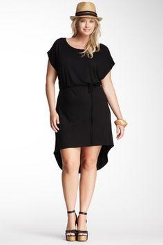 Loveappella Boatneck Hi-Lo Dress - Plus Size