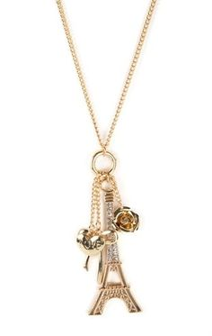 Deb Shops Long Necklace with Eiffel Tower and Bow Pendants $5.00