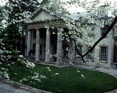 Swan house rear entrance in Spring