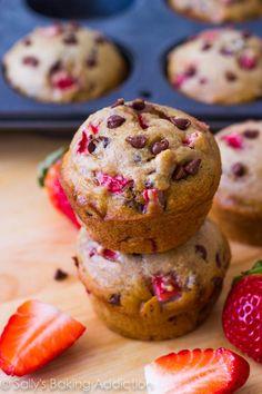 skinny strawberry chocolate chip muffins.