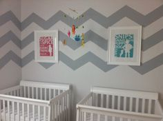 Chevron Walls in Twins Nursery - #projectnursery