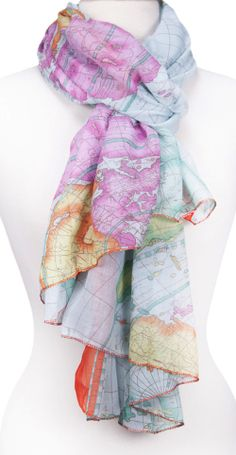 Old map scarf