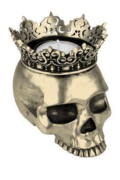 Crowned Skull Candle Holder