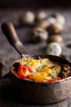 Sausage, mushroom, and quail egg bake
