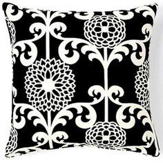 Jiti Pillows Floret Cotton Square Pillow in Black