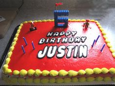 Lego Party Cake - like he simple lego 6 topper