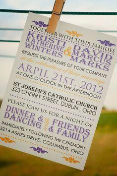Purple Wedding Invitation by ImpressivePrint on Etsy, $5.95