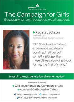 Regina Jackson: President & CEO of East Oakland Youth Development Center - and proud Girl Scout alumna! http://www.girlscoutsnorcal.org/campaignforgirls