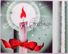 #466 30s Art Deco Candle-Vintage Christmas Greeting Card