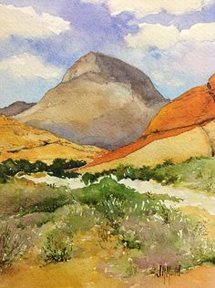 """""""Outside Vegas"""" original watercolor painting for sale $100 by Judy Mudd"""