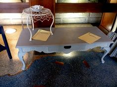 Lots of cool furniture refinishing ideas from a local charity auction. This chevron table was one of my favorites.
