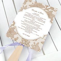 lace wedding ceremony fan program ceremoni fan, fan idea, program fan