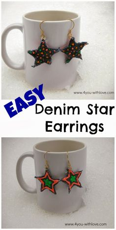 4 You With Love: Denim Star Earrings with Tulip Neon Paint  #tulipneon
