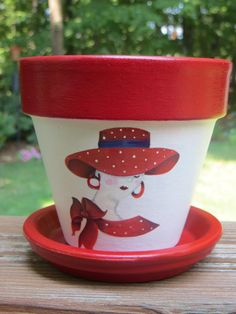 RED  HAT LADY Flower Pot by EllensClayCreations on Etsy, $12.00